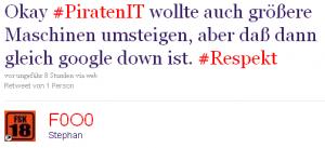 Okay #PiratenIT wollte auch größere Maschinen umsteigen, aber daß dann gleich google down ist. #Respekt
