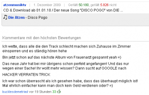 Beispiel Spam Kommentar Youtube
